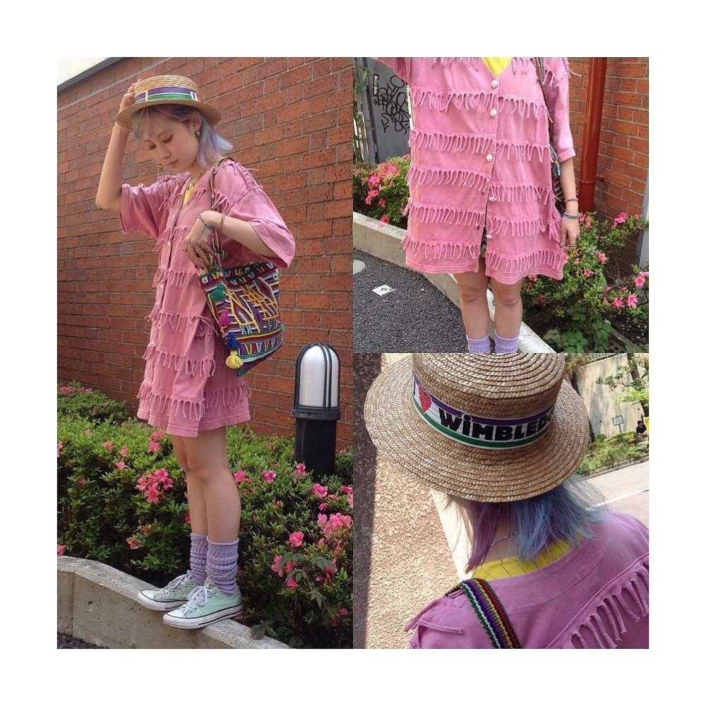 Ladies styling Fringe cardigan  size L 5900tax  Boater  I  WIMBLEDON  6500tax  Fringe shoulder bag 4900tax  #kinsella #tokyo #harajuku #キンセラ #原宿 #東京 #fashion #ファッション #古着屋 #vintage by kinsellatokyo
