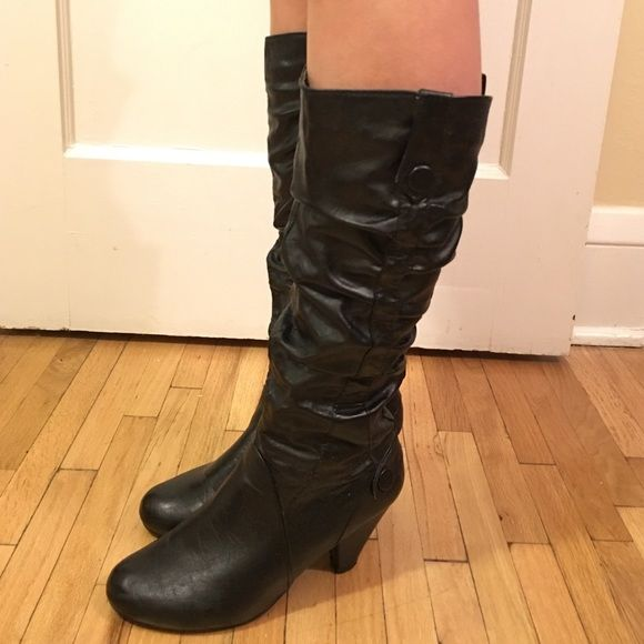Charming Charlie Heeled Boots (Bamboo) Barely worn black heel boots Charming Charlie Shoes Heeled Boots