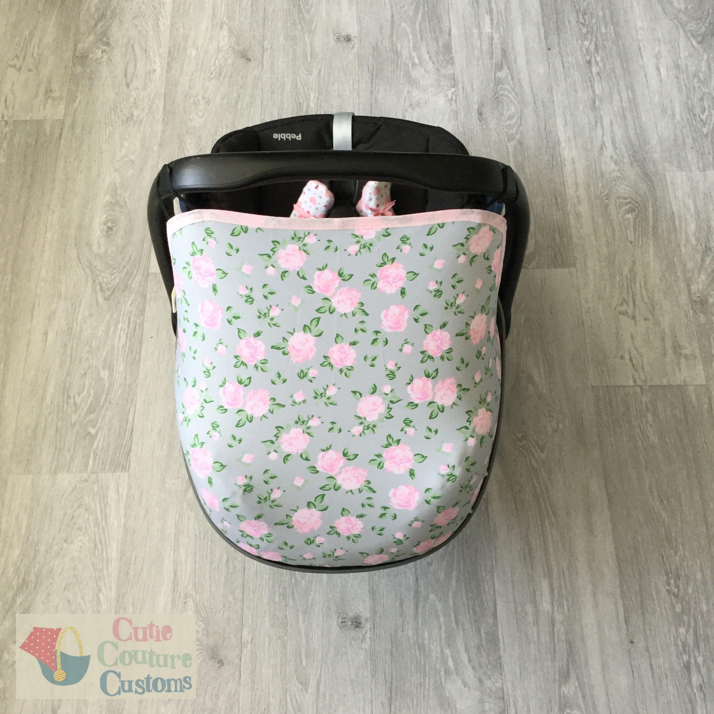 Grey Floral Car Seat Canopy