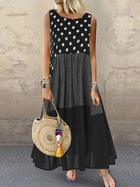 Polka Dot Plaid Stitching Sleeveless Dress
