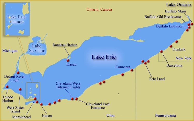 lake erie ferry map Lake Erie Lighthouses Lake Erie Ohio Ohio Lighthouses Lake Erie lake erie ferry map