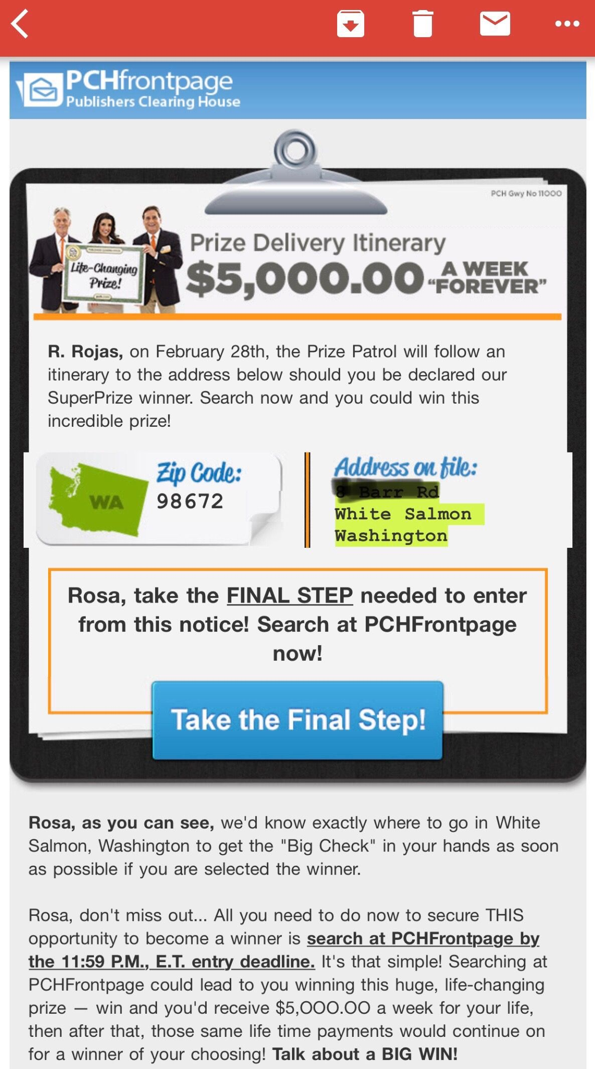 """PCHFRONTPAGE PRIZE DELIVERY ITINERARY $5,000 00 A Week """"Forever"""" I"""