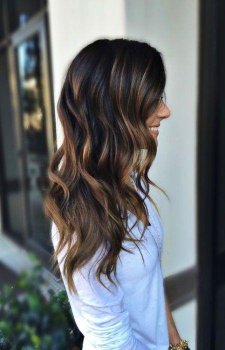 Schwarze Haare Und Karamell Highlights Ombre Haarfarben