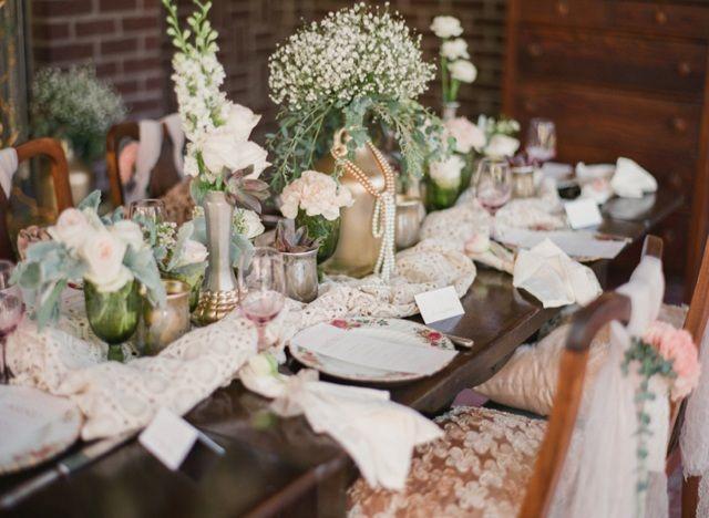Vintage Hochzeit Tischdeko Tischl Ufer Spitze Vasen