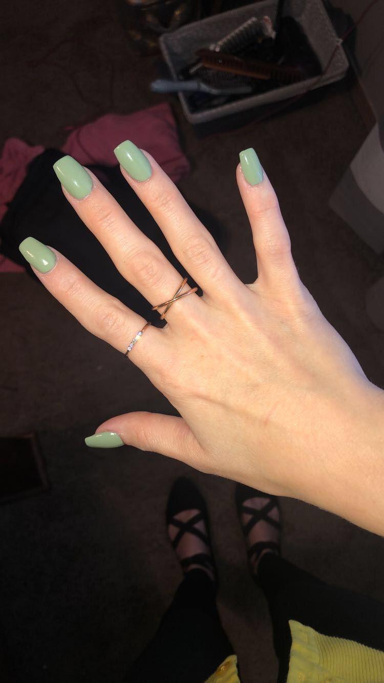 Acrylic Nails   Green acrylic nails, Short acrylic nails, Short ...