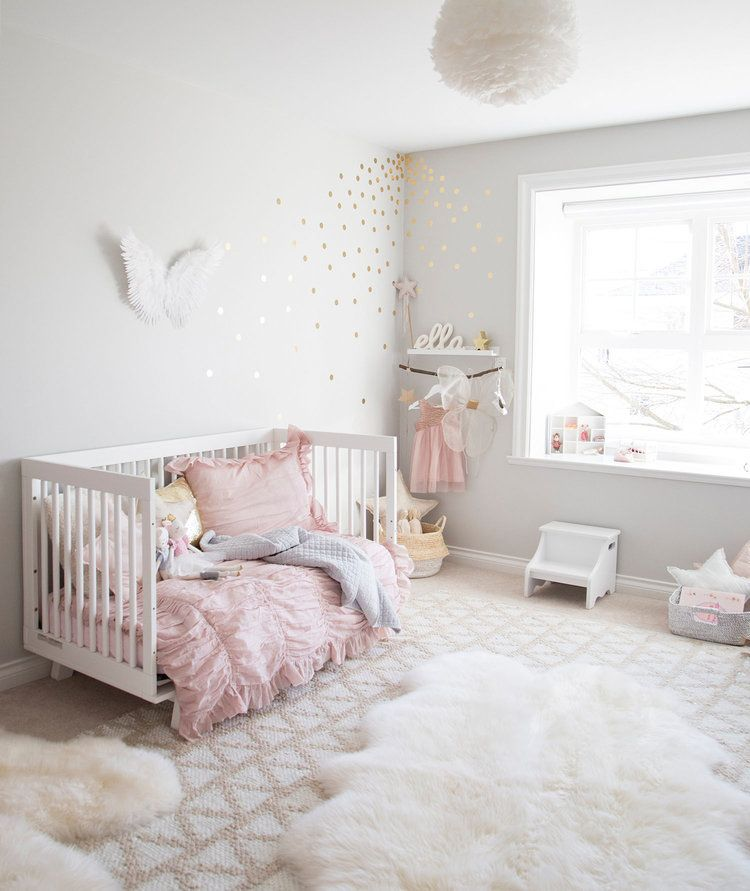 Angel Themed Design For A Baby Girl S Nursery: Pink And Grey Toddler Girl Bedroom