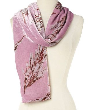 Pink & Burgundy Abstract Silk-Blend Scarf