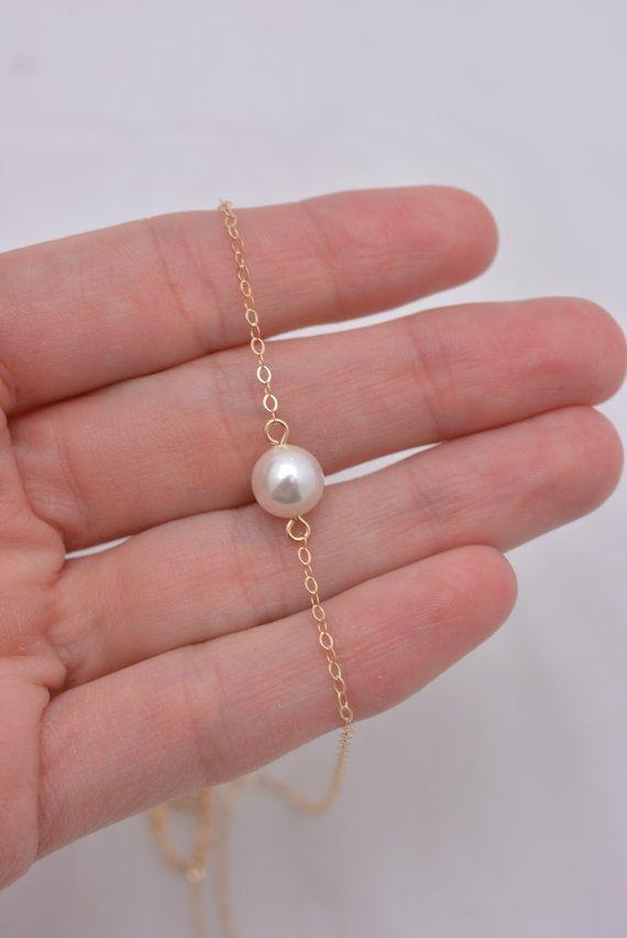 Collar de perlas oro flotantes collar de perlas de oro