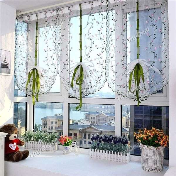 1stk 100x80cm gestickte blumen raffrollos hebe t ll fenster vorhang sheer f r badezimmer k che. Black Bedroom Furniture Sets. Home Design Ideas