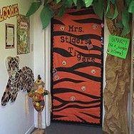 school door decorating ideas   Tiger Stripe Classroom Door Decoration   MyClassroomIdeas.com & school door decorating ideas   Tiger Stripe Classroom Door ...
