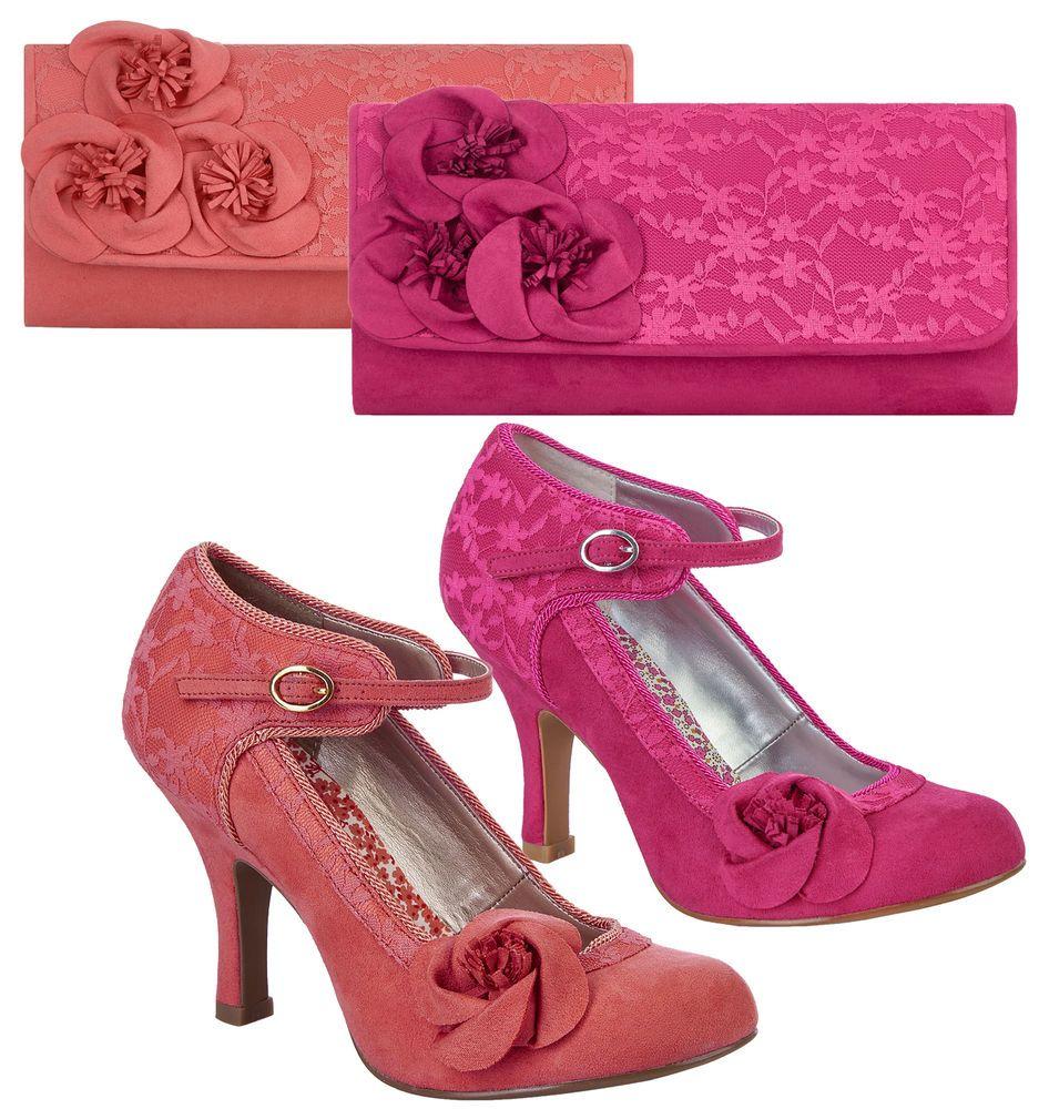 Ruby Shoo Anna Lace Bar Shoe /& Matching Milan Bag Royal Purple UK 2-9 EU 35-42