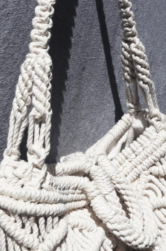 Bolso de mercado Crossbody – Grande – algodón blanco, bolsa de Macramé, bolsa de fin de semana, tote, Boho Chic, estilo Boho, bolsa de playa, accesorio de verano,