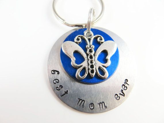 Hand stamped best mom keychain by jewelryandmorebykat on Etsy