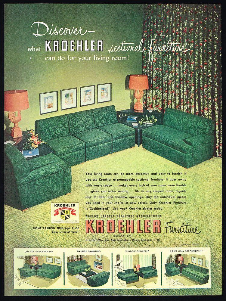 1950 Kroehler Sectional Living Room Green Furniture