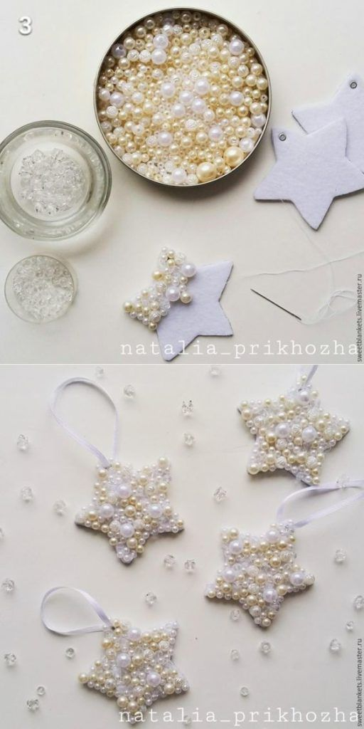 Easy DIY Pearl Star Christmas Ornament craft and gift idea.