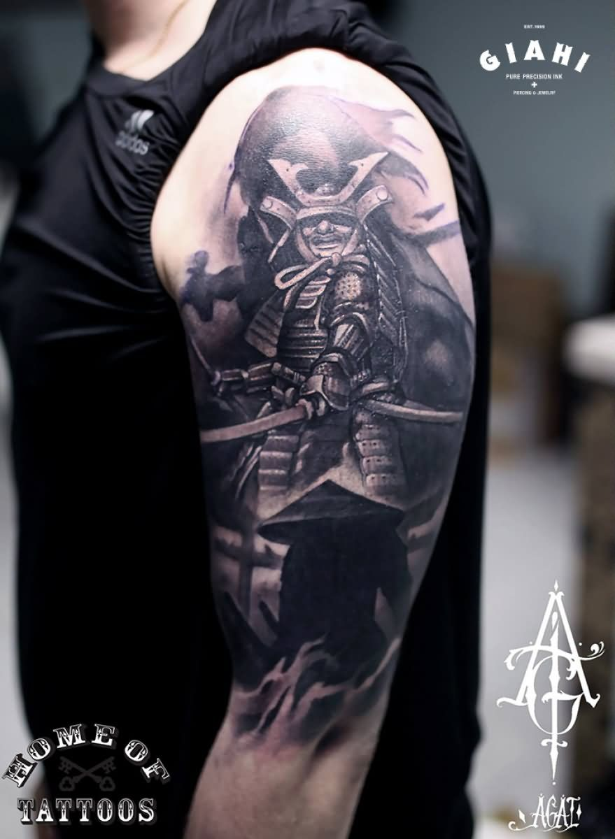 Download Free ... samurai tattoo on right half sleeve ...