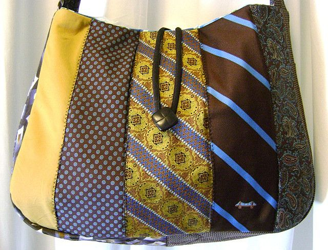 Recycled Necktie Messenger Bag