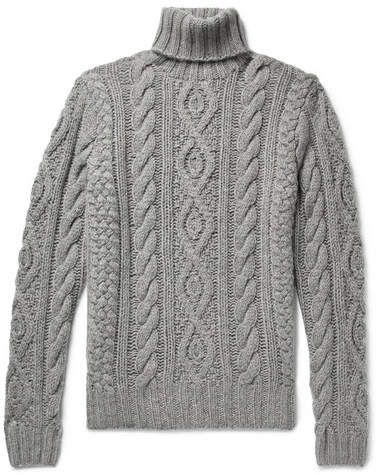 fde7726dd Ralph Lauren Purple Label Cable-Knit Cashmere And Mohair-Blend Rollneck  Sweater