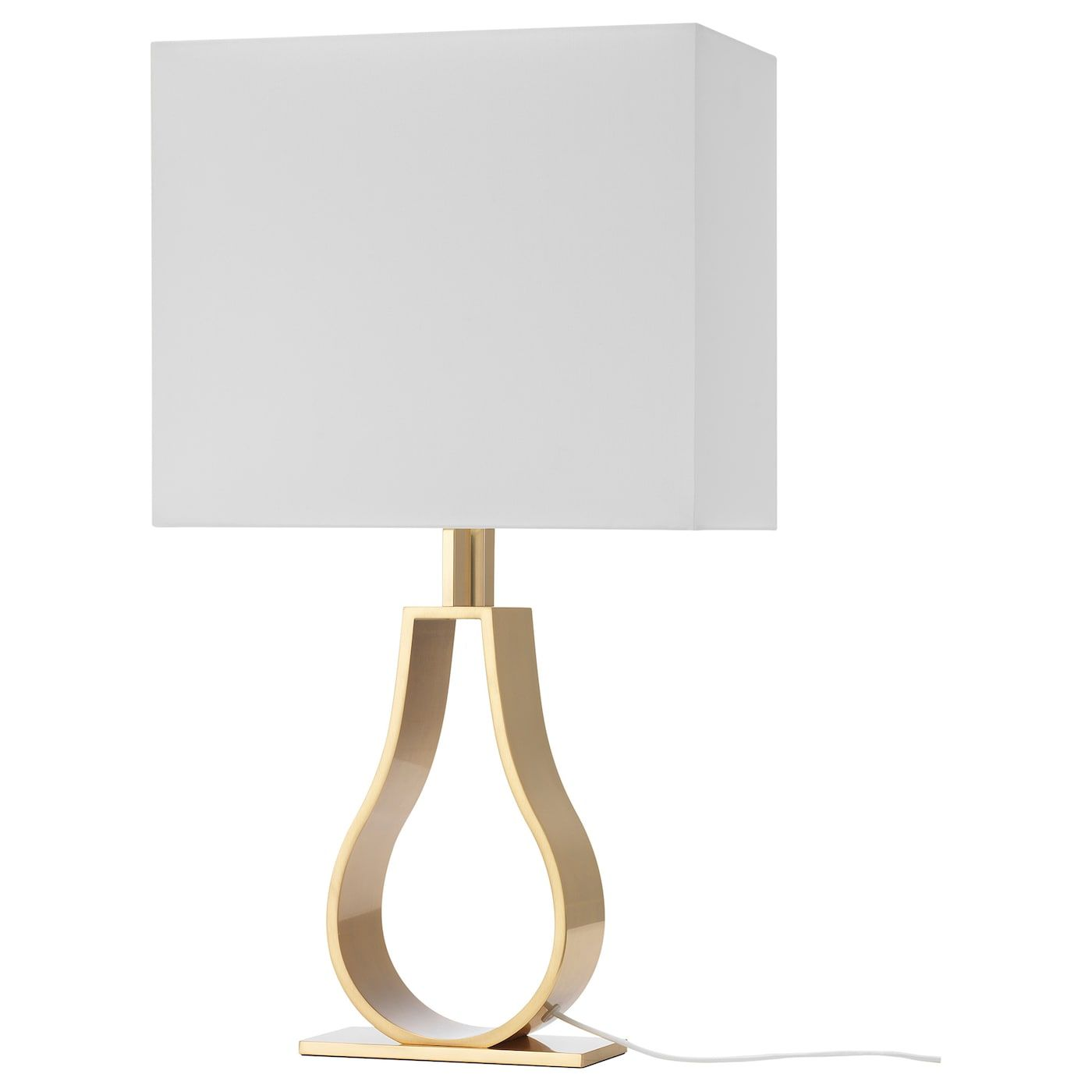 KLABB Table lamp with LED bulb, off white, brass color