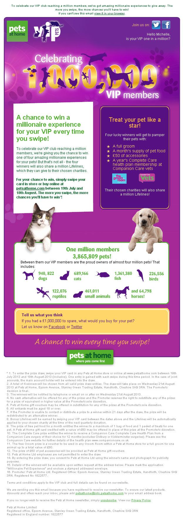 Pets At Home 1 Million Members Campaign Pets Dog Cat Your Pet