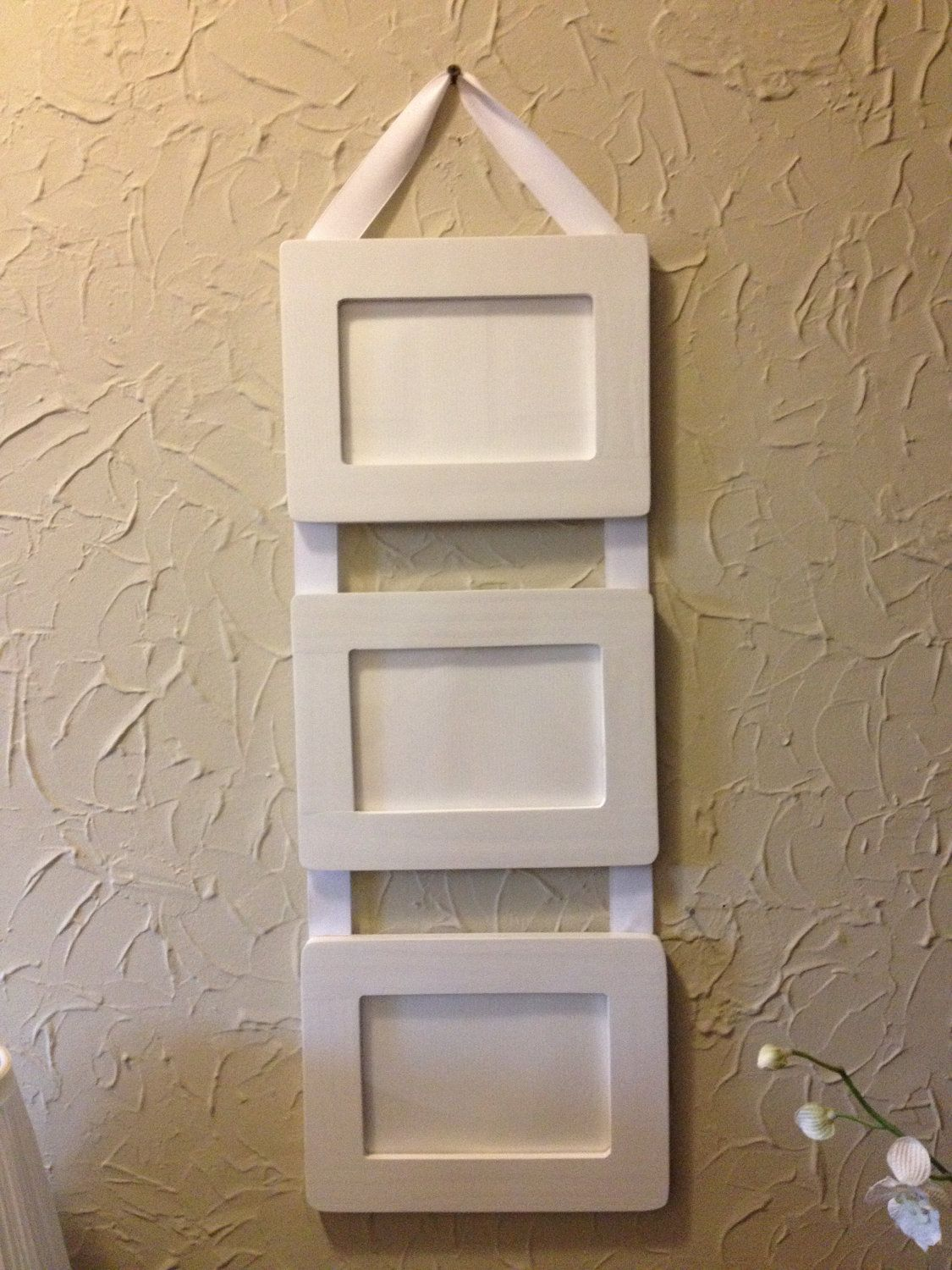 Ribbon Hanging Picture Frames / Set of 3, 4x6 white frames connected ...