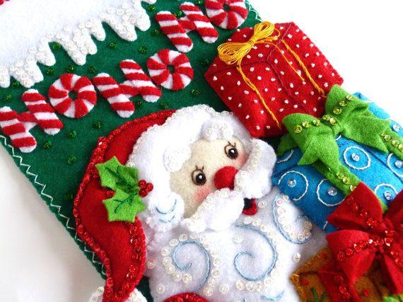 Christmas Stocking Finished Bucilla Felt Stocking Personalized
