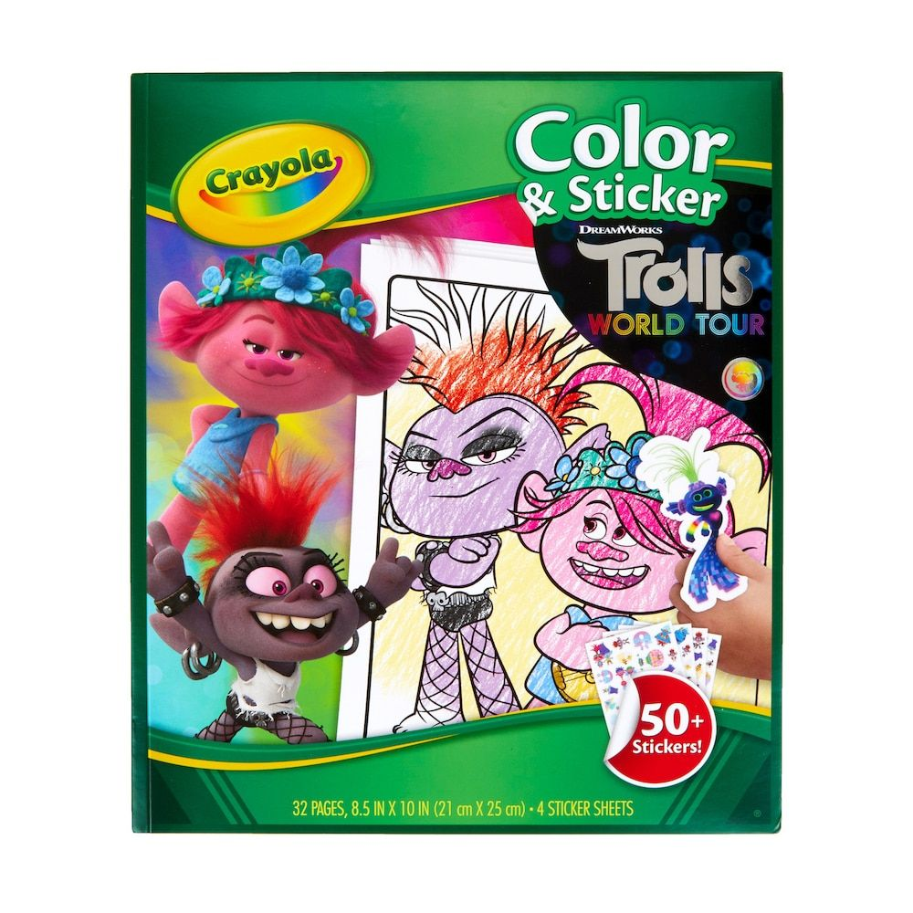 Dreamworks Trolls World Tour Color Sticker Activity By Crayola In 2020 Coloring Stickers Crayola Sticker Book