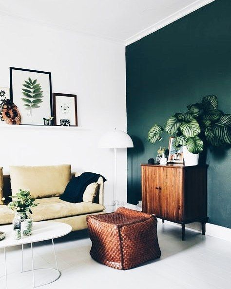 lovely dark green living room wall | Just that one emerald green accent wall#UNIQFINDinspo ...