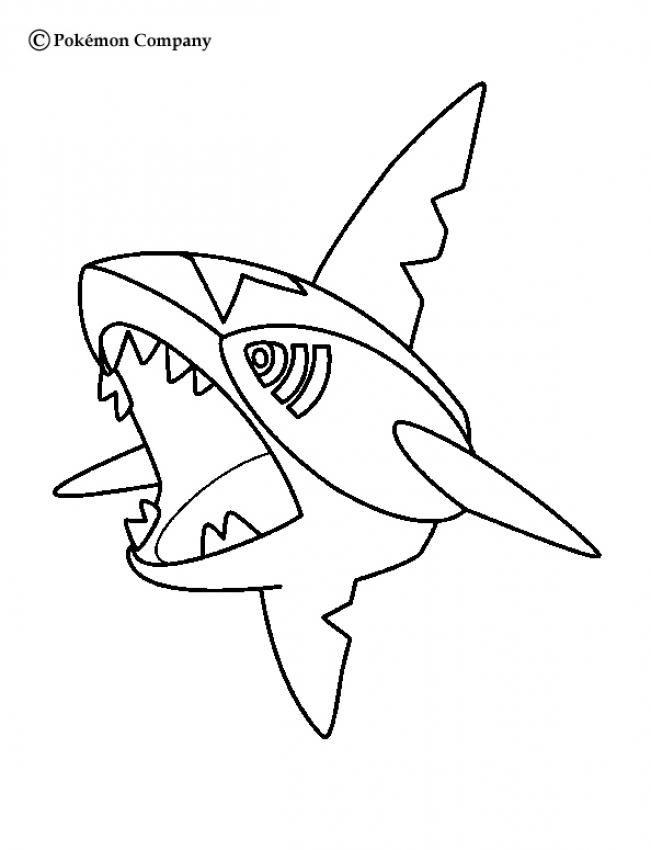 Sharpedo Pokemon coloring page More water Pokemon coloring sheets - copy coloring page of a tiger shark