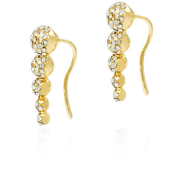 Fallon Shalom Pave Graduated Ball Climber Earrings Gold/pave 3ykzeaOe