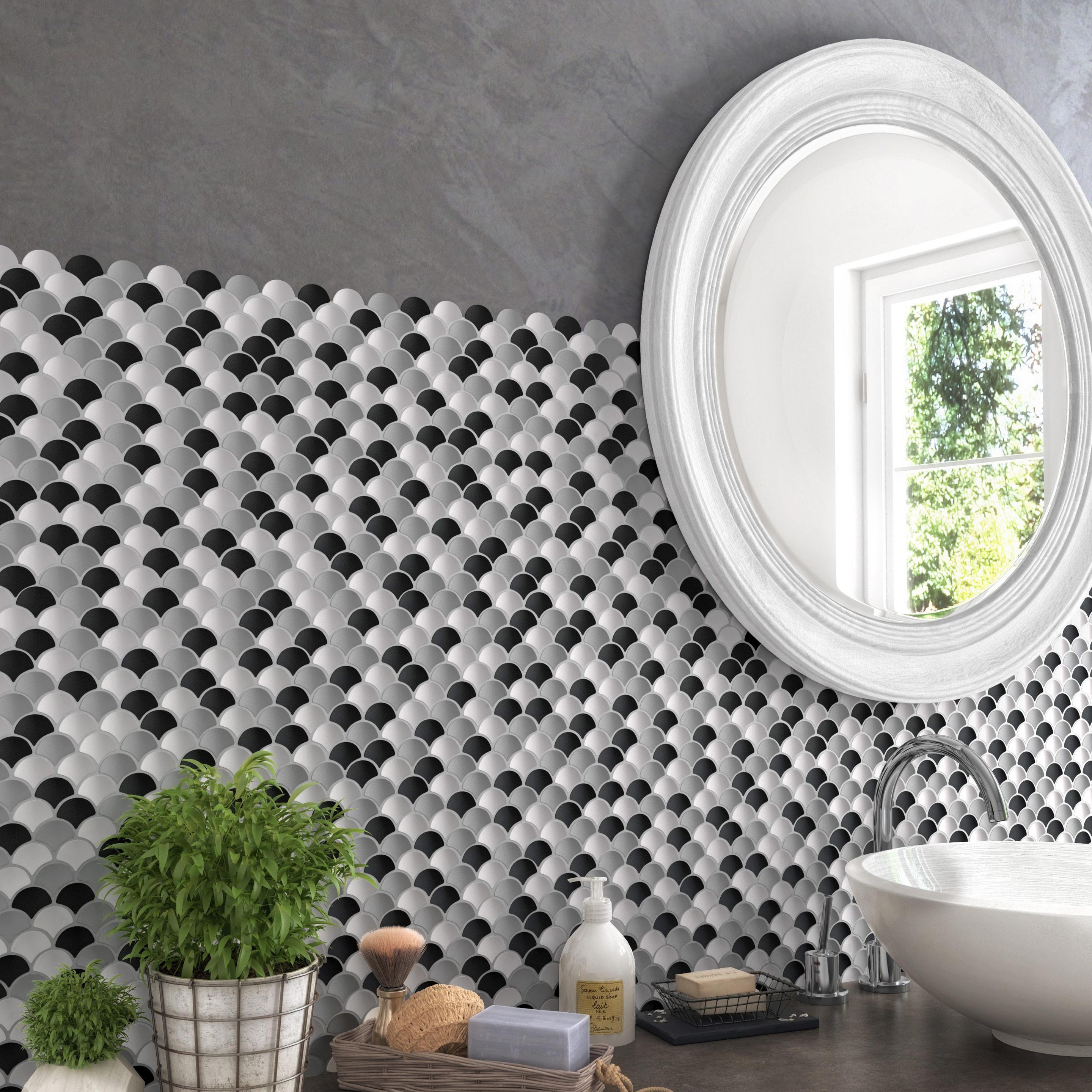 Des Sols Et Des Murs Avis mosaïque sol et mur ecailles gris, noir, blanc 2,9 x 3,6 cm