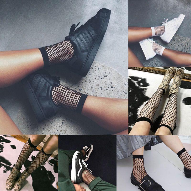 Women Ankle Mesh Fashion Short Socks Big Bowknot Fishnet Lace
