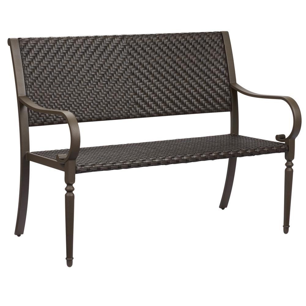 Hampton Bay Commack Brown Wicker Outdoor Bench 760 008 000 The Home Depot Outdoor Wicker Furniture Outdoor Wicker Chairs Outdoor Bench