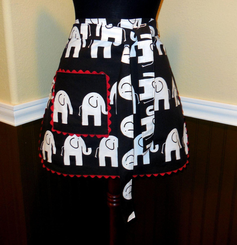 White apron black hands - Womens Half Apron Waist Apron Cafe Apron Black White Elephants