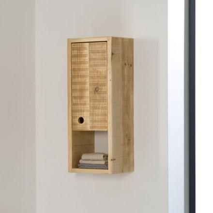 demi colonne de rangement divers pour salle de bain modle suspendu en bois massif - Colonne Suspendu Salle De Bains