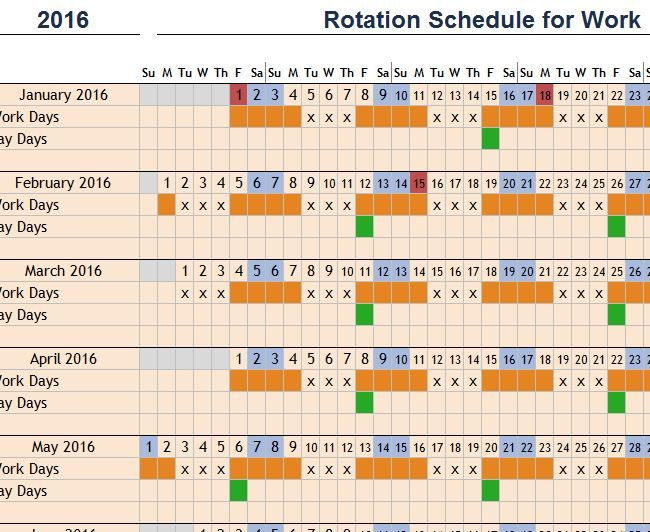 Rotation Schedule For Work Template  Small Business Tools