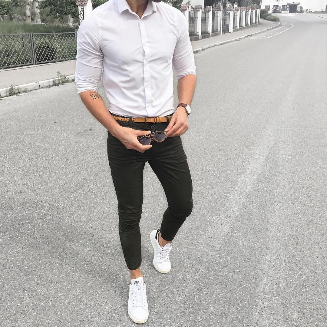 Man style · White shirt green chinos and white adidas sneakers ...