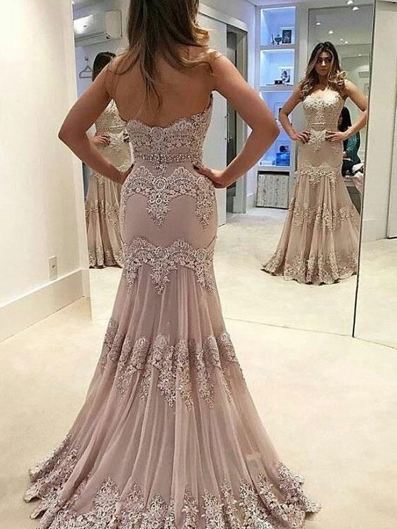 664e47dd7115 Trumpet/Mermaid Sweetheart Sweep Train Tulle Appliqued Beaded Prom Dresses  2828