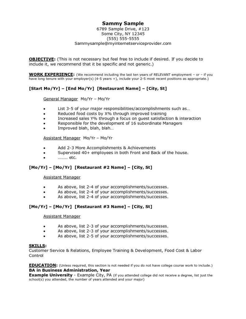 restaurant job resume sample