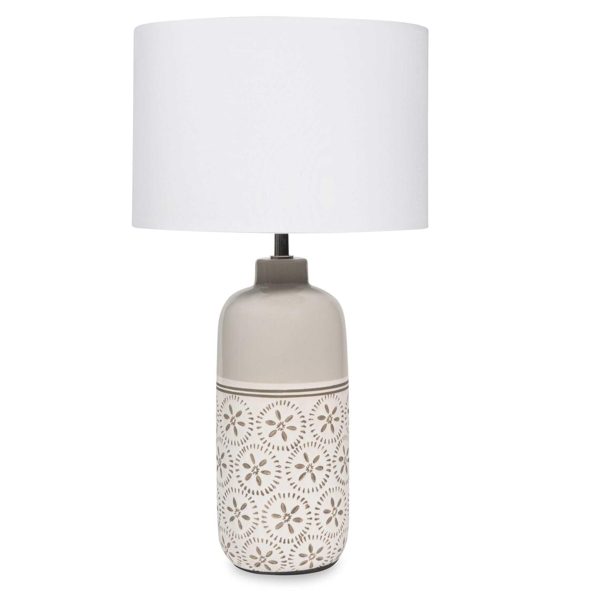 Lampe en céramique grise abat jour blanc KALALI Πάμπες