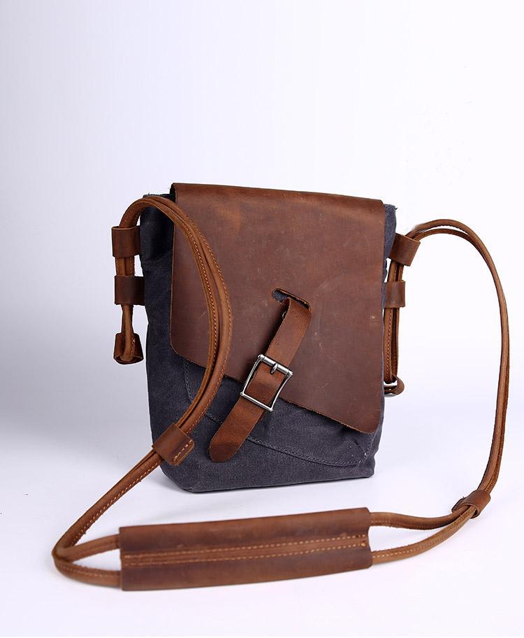 Canvas Messenger Bag, Brown Leather Canvas Bag, Crossbody Bag ...
