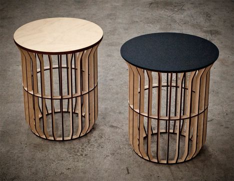 Exceptionnel Jonathan Dortheu0027s Architectural Lath Tables Are Made From Thin Strips Of  Laser Cut Plywood Assembled To Create Volume.