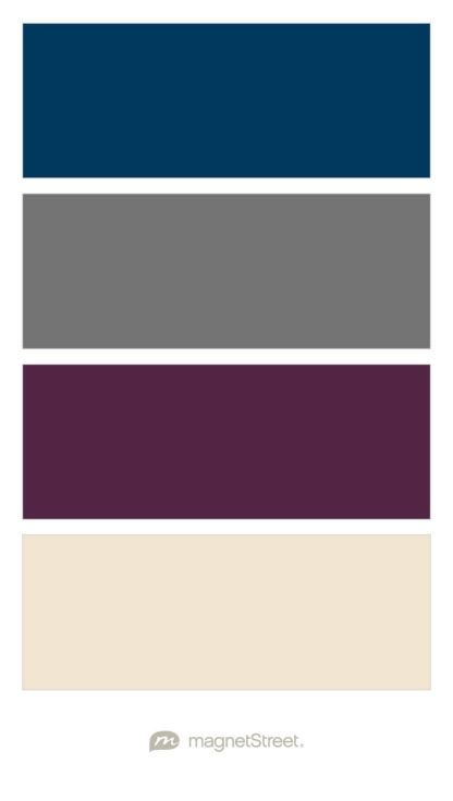Navy, Charcoal, Custom Purple, and Champagne Wedding Color Palette ...