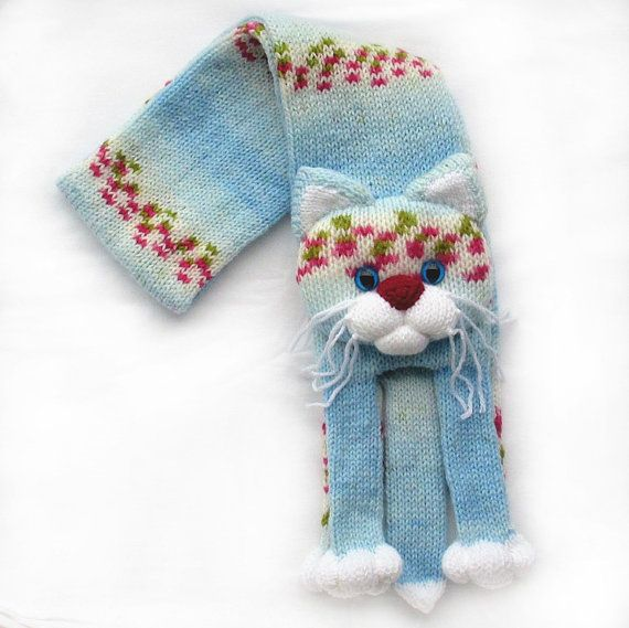 Punto a punto bufanda de gato los niños por NPhandmadeCreations ...