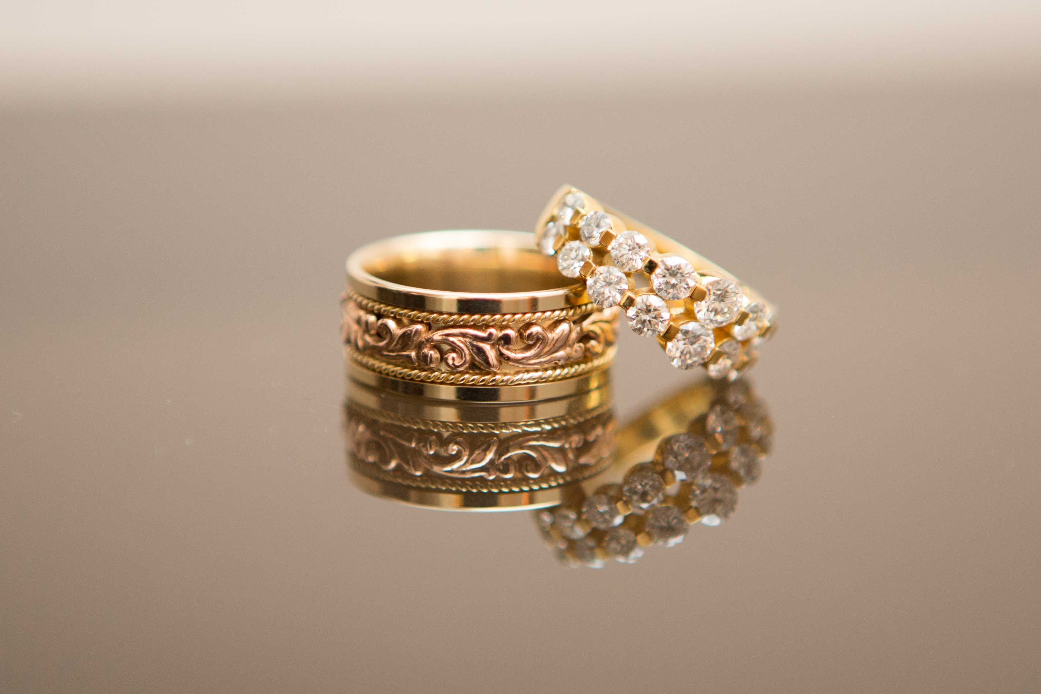 Unique Men S Wedding Bands Scrollwork Rose Gold And Yellow