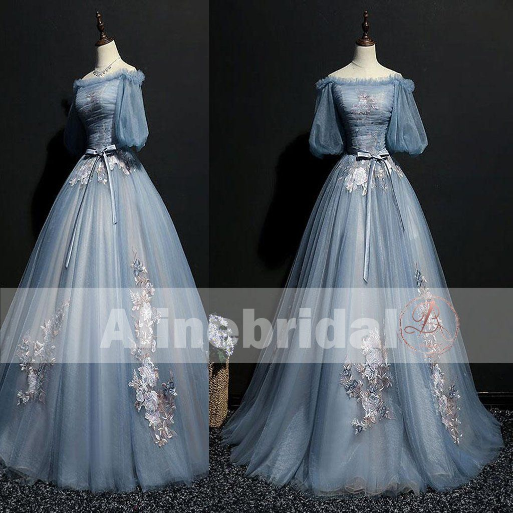 d73e5df8d4 Vintage Princess Off Shoulder Half Sleeve Sky Blue Appliques Ball Gown Prom  Dresses The prom dresses are fully lined, 4 bones in the bodice, ...