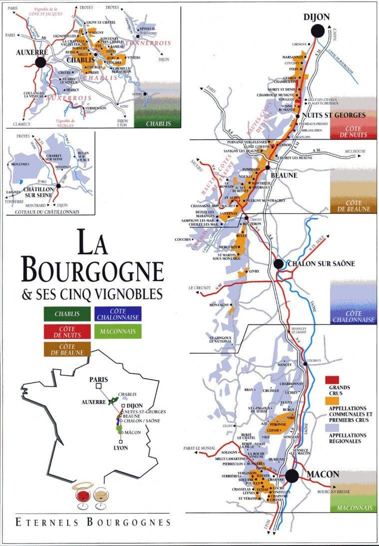 Carte De Bourgogne Route Des Vins.Epingle Sur Vino