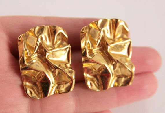 18 KT Gold Crumpled Square Stud Earrings by VintageForAges on Etsy