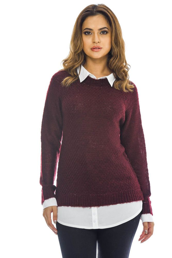 916838d22cd AX Paris Womens Wine Knitted Shirt Top Everyday Party Clothing ...