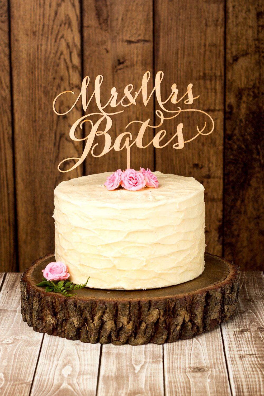 Custom wedding cake topper birch by betteroffwedrustics on